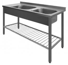 Diskbänk med 2 hoar och gallerhylla - svetsat - 60 cm djup